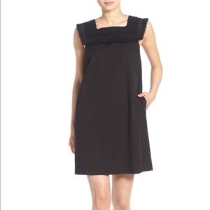Madewell crochet fringe sundream black dress sz 8